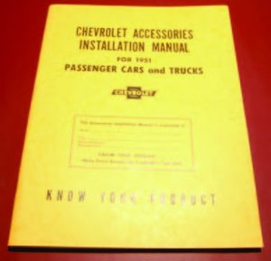 1951 Chevy Accessory Installation Manual