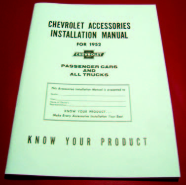 1952 Chevy Accessory Installation Manual